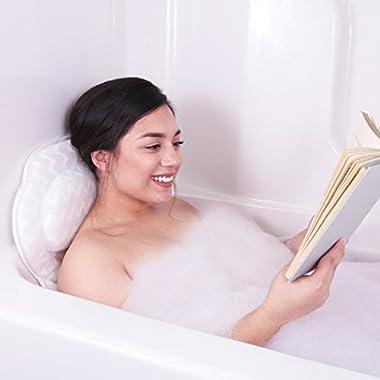 Bath Haven Luxurious Bath Pillow for Women & Men :: Ergonomic Bathtub Cushion for Neck, Head & Shoulders :: With QuiltedAir Mesh for Breathable Comfort :: Includes Wash Bag