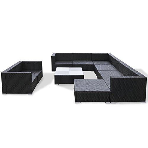 Festnight 32-TLG. Gartensofa Set mit 1 Teetisch Gartenlounge Garten Lounge-Set aus Polyrattan Loungegruppe Sitzgruppe für Terrasse Garten - Schwarz - 5
