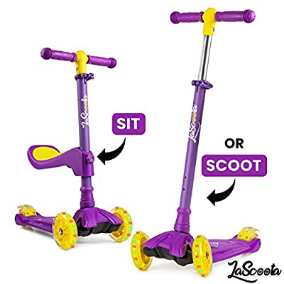 Lascoota 2-in-1 Kick Scooter with Removable Seat Great for Kids & Toddlers Girls or Boys – Adjustable Height w/Extra-Wide Deck PU Flashing Wheels for Children from 2-14 Years Old (Lilac)