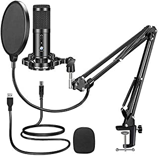 Condenser USB Microphone Computer PC Microphone Kit with Adjustable Arm Stand Shock Mount for YouTube Live Streaming