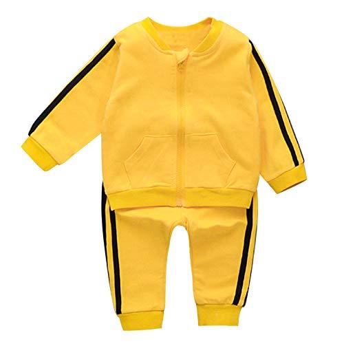 Aislor Conjuntos para Bebé Niños Algodón Cómodo Chaqueta Cierre de Cremallera y Pantalones Largos a Rayas Niños Ropa de Dos Pieza Deporte Primavera 0-6 Años Amarillo 12-18 Meses
