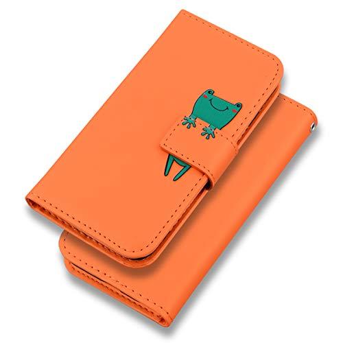 Suhctup Funda de piel compatible con iPhone 5 / 5S / SE, diseño de rana, color verde, funda tipo cartera, funda de piel sintética de alta calidad con [tarjetero] [función atril], rana, naranja