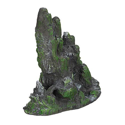 Relaxdays, rotsformatie, natuur-look, decoratie voor aquarium en terrarium, staand, 22 cm hoog, grijs-groen, 1 stuk