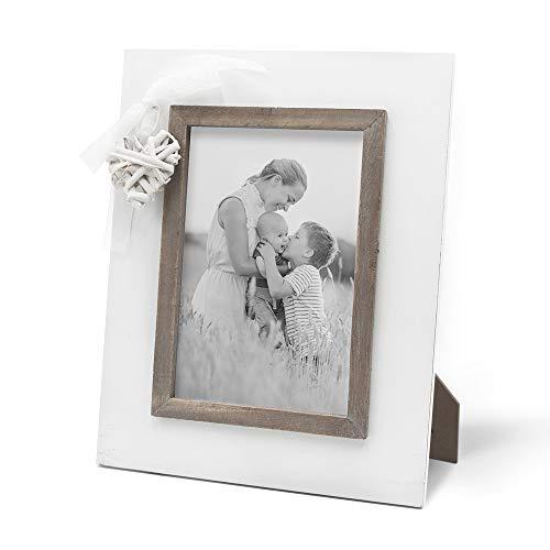 Afuly Marco de fotos rústico blanco de madera de 12,7 x 17,7 cm con corazón de amor, regalos de boda para escritorio de mesa verticalmente únicos regalos para padre