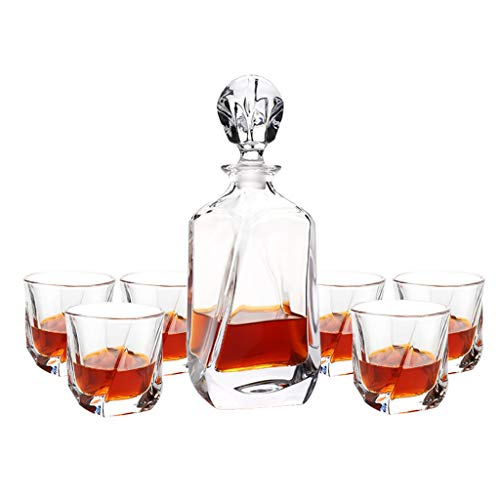 Set de Verres à Whisky avec Carafe à Décanter et Bouchon - Verre en Cristal - Bouteille de Whisky 700ml avec 6 Verres à Whiskey 200ml - 7 Pièces
