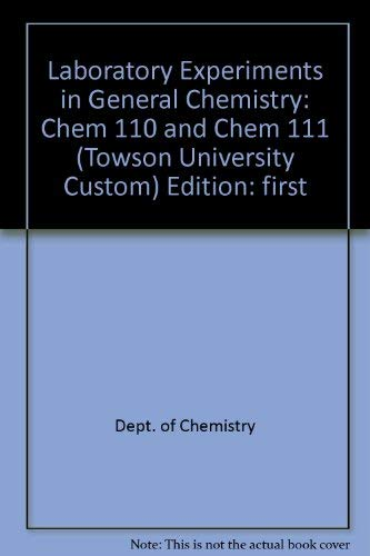 Laboratory Experiments in General Chemistry Chem 110 and Chem 111