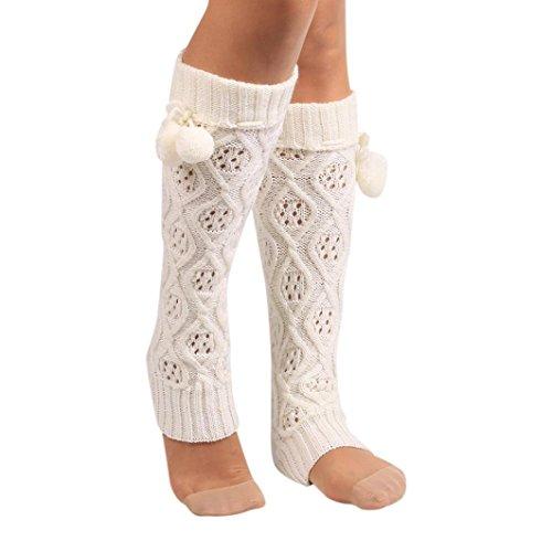 Socks Women, Liraly Winter Warm Knitted Socks Leg Warmers Boot Crochet Long (White)