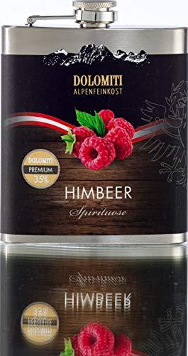 DOLOMITI Himbeer Schnaps Flachmann │ Himbeer Premium Spirituose 35% vol. │ robuster, edler Flachmann aus Edelstahl │ 0.2 Liter