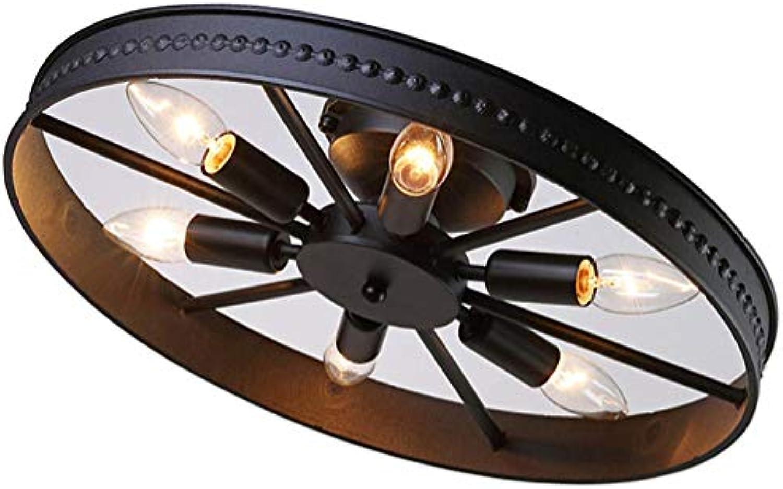 Deckenleuchte Vintage Wohnzimmerlampe Deckenlampe Antik Landhaus Esszimmer Lampe Rund Eisen Kronleuchter für Innen Schlafzimmer Kinderzimmer Badezimmer Esstisch Küchelampe E14×6 Glühbirne (Schwarz)