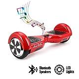 ACBK - Patinete Eléctrico Hover Autoequilibrio con Ruedas de 6.5' (Bluetooth + Luces LED) Velocidad máxima: 10-12 km/h - Autonomía 10-20 km (Rojo)
