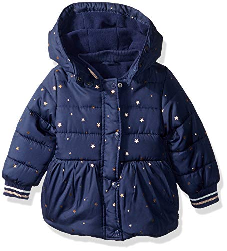 Nautica Baby Girls Printed Puffer Coat with Removable Hood, Navy, 12 Months