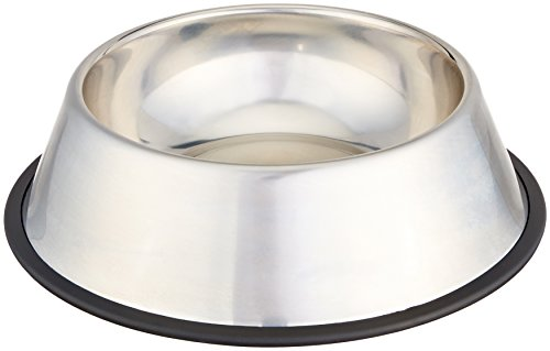 AmazonBasics Stainless Steel Pet Dog Water And Food Bowl - 11 x 3 Inches