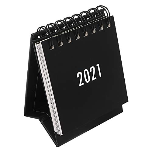 NUOBESTY Desktop Calendar 1Pc 2020.7-2021.12, Mini Stand Up Table Calendars Desk Coil DIY Memo Pad Yearly Agenda Organizer Schedule Planner for School, Home, Office - Black, 3.94x2.95x2.36inch