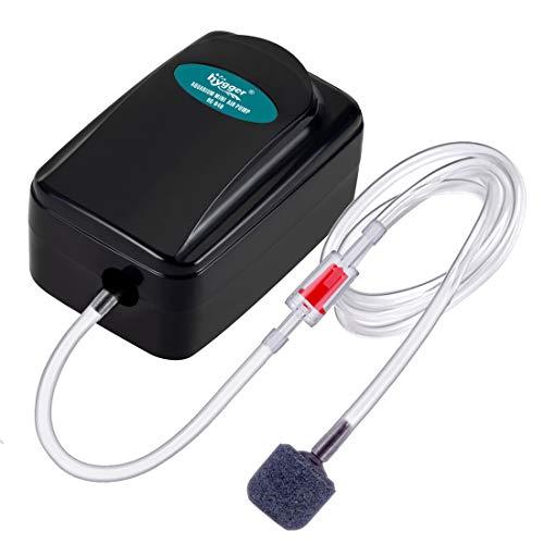 Hygger Mini Aquarium Air Pump Kit Small Fish Tank Air Pump 1W for 1-20 Gallon Fish Bowl with Air Tube Air Bubbler Stone Check Valve (1W)