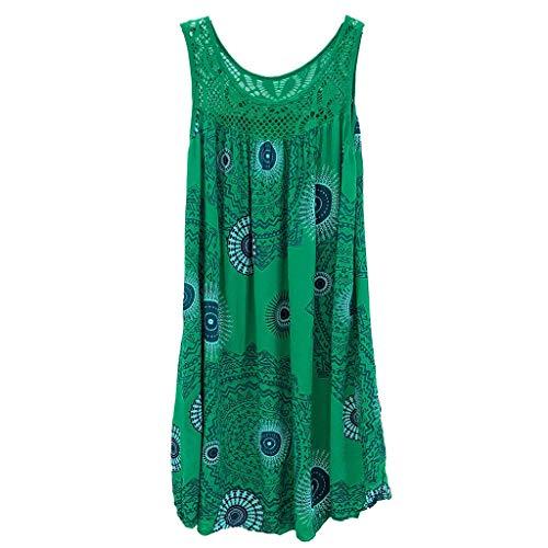 Beikoard Kleid Damen Kleid Shirtkleid Lange Sommerweste Tunikakleid Trägerkleid Mode Spitze Stitching Print ärmelloses Kleid