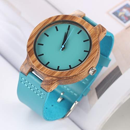 Reloj Digital de Reloj de Moda para Mujer, Esfera Redonda Grande, Estuche de Madera y Correa de Cuero clásico único (Color : Color2)