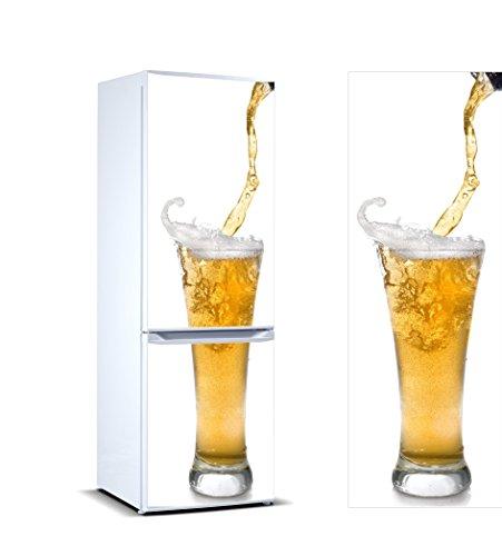 Pegatinas Vinilo para Frigorífico Vaso Cerveza   Varias Medidas 185 x 60 cm   Adhesivo Resistente y de Fácil Aplicación   Pegatina Adhesiva Decorativa de Diseño Elegante
