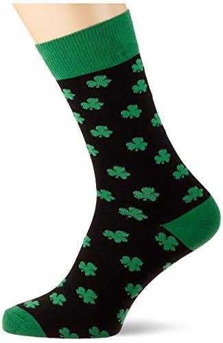 Traditional Craft Herren T9004 Overall-Socken für Erwachsene mit Kleeblatt-Motiv, schwarz/grün, Einheitsgröße