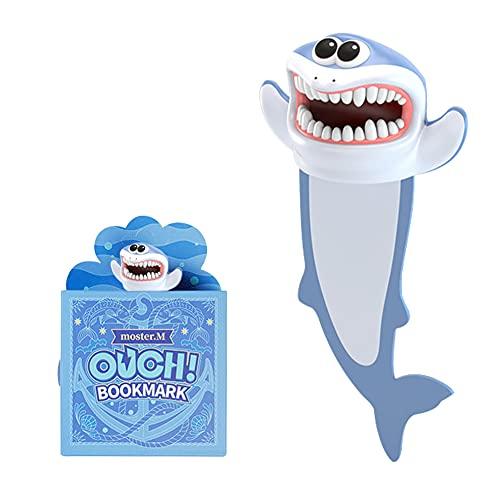 3D Lesezeichen Tiere, Cartoon Tier-Lesezeichen, Lesezeichen Kinder, Lesezeichen Lustig für Kinder, Schüler, Bookmarks für Lesen Geschenke (Hai)