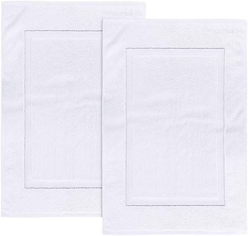 Utopia Towels - Lot de 2 Tapis de Bain en 100% Coton - Tapis Salle Bain - Lavable en Machine (53 x 86 cm, Blanc)