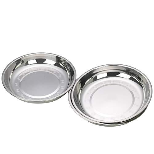 Bringer Plato redondo de acero inoxidable para acampar, plato de cocina, paquete de 4