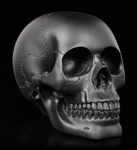 Figuren Shop GmbH Gothic Totenkopf - schwarz, matt, Serie: The Skull Collection | Fantasy Skull, Totenschädel, Kopf-Skulptur, H 11 cm