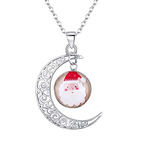 EVER FAITH Christmas Gift 925 Sterling Silver Glow in Dark Moon and Santa Claus Luminous Bead Pendant Necklace