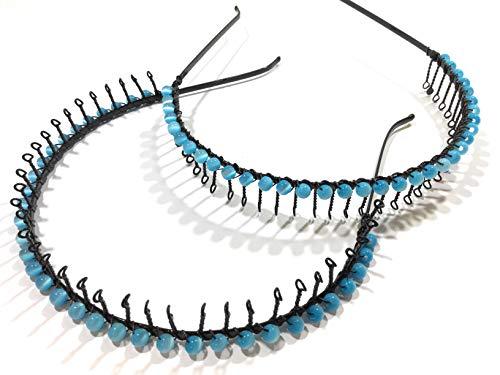 Niavida Einsteck Serre-tête à dents torsadées en métal avec motif boule Bleu turquoise