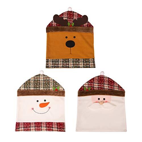 JJZXD Fundas para sillas 3PS Spandex Navidad Lindo Papá Noel Comedor Fundas traseras Fiesta Navidad Cena Mesa decoración Funda Elastica Silla