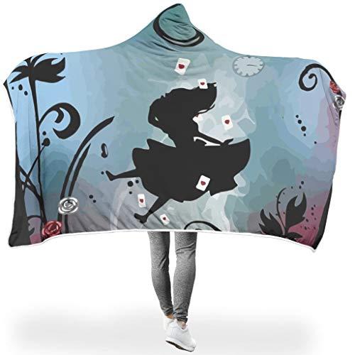 CATNEZA Mädchen Uhr Blume SerieHome Hooded Throw Wrap Hypoallergen Bequemes Schlafdecke TV Fleecedecke Für Erwachsene Und Kinder White 130x150cm