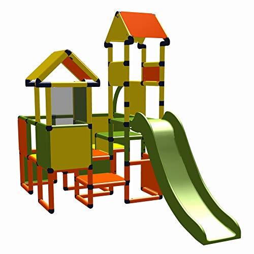 move and stic 6419 ~ Spielburg Moritz mit Rutsche in orange~gelb~apfelgrün ~ Gartenspielhaus ~ geeignet für Kinderzimmer,Spielzimmer oder auch draußen im Garten ~ Indoor ~ Outdoor
