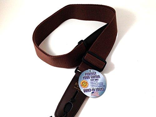 Lock-It guitarra correa color marrón algodón Correa de...