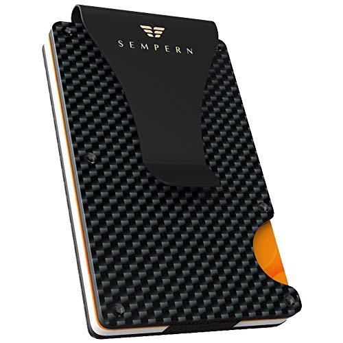 Carbon Fiber Slim Wallet - Metal Wallet - RFID blocking Wallet | Up to 12 cards - Front Pocket Black Wallet for Men, Credit Card Holder - Gift Box