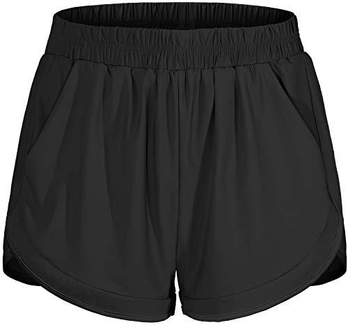 Blevonh Soccer Shorts Women,Elastic Bands Comfort Fashionable Running Fitness Shorts Ladies Flattering Solid Color Casual Pajama Black M