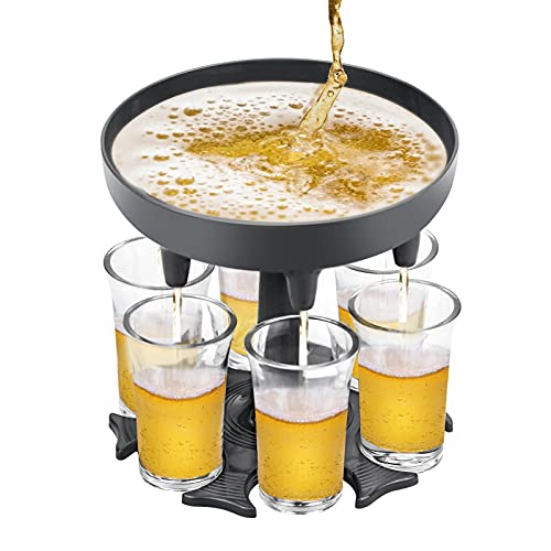 6 Dispensador de chupito con 6 vasos de plástico dispensador de chupito dispensador y soporte Para fiestas, Reuniones familiares o de amigos, Picnics y bares