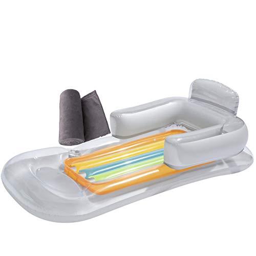 Backboards 63x33inch Tablas Paddle Surf,Transparente Plegable Tabla De Surf De Remo,con Almohada Reposabrazos Lecho Flotante de Verano,para Hombres Mujeres,White