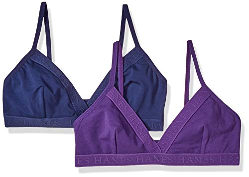 Hanes Ultimate Women's Casual Comfort Logo Wirefree Triangle Bra 2-Pack, Coil Blue/Crocus, Medium