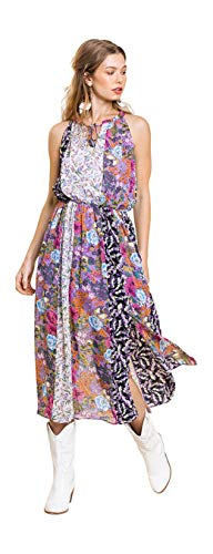 Umgee Women's Mixed Floral Print Maxi Dress (Small, Violet Mix)