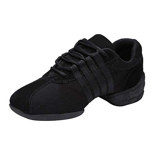 Daytwork Salón de Baile Jazz Zapatos de Baile - Mujer Suela Partida Malla Cordones Zapatillas de Deporte Chica Ropa de Baile Práctica Enseñanza (Zapatos es más pequeño)