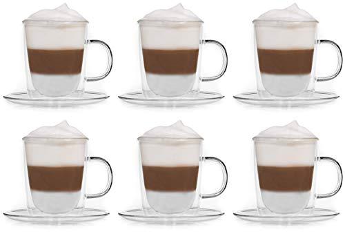Snobbies 6X 360ml dubbelwandige mokken met schoteltjes/thermokopjes/glazen kopjes/theekopjes/koffiekopjes met zweefeffect van Feelino