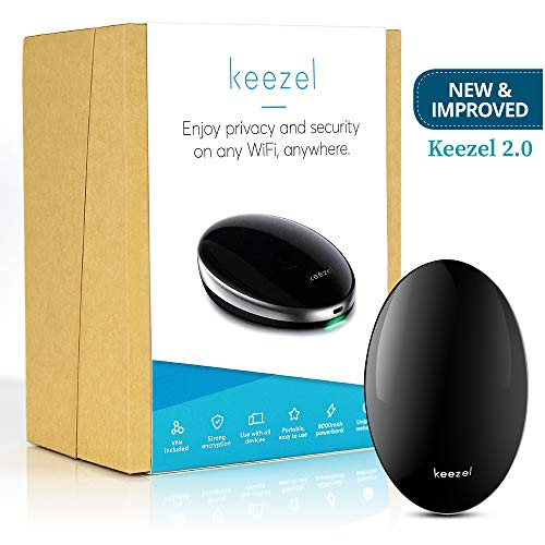 New Keezel 2.0 VPN Portable Router | Built-in Firewall for Wireless Internet Connection | VPN Router That Creates Online Security and Privacy on Any Wi-Fi Network | Travel Power Bank Included