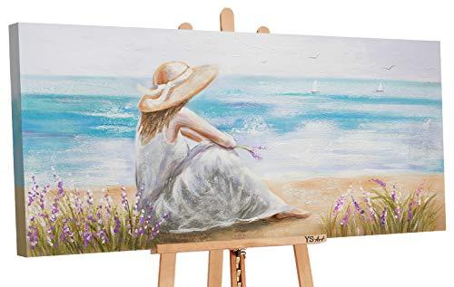 YS-Art | Cuadro Pintado a Mano Hermosa mañana II | Cuadro Moderno acrilico | 120x60 cm | Lienzo Pintado a Mano | Cuadros Dormitories | único | Azul