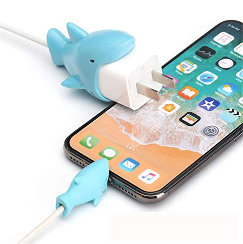 MJEMS 2 Pack Compatible iPhone Cable Protector Charger Saver Cable Cute Animal Shark Cable, Cable chewers Cable for iPhone MacBook Accessory Smartphone Cable Accessory