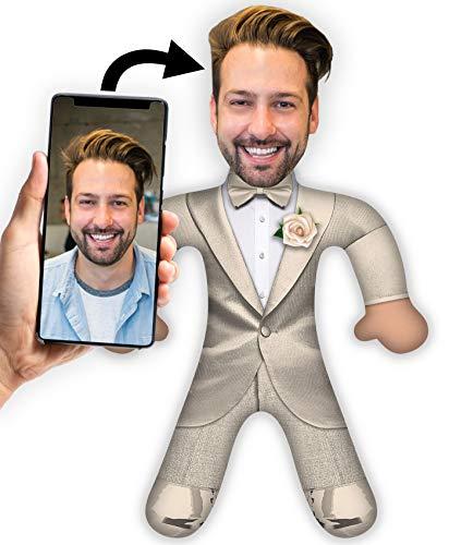XXL Foto - Kuschel Plüsch Puppe mit Deinem Gesicht 50 x 30cm MiniMe Kissen (Bräutigam)