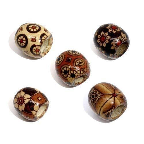 Bacabella 20865 Holz Perlen 17x16mm groß braun Erdtöne Gemustert Fädelloch 7,4mm (40 Stück) für Schmuckherstellung oder auch Dreadlock-Träger