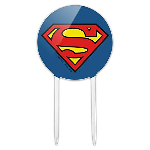 GRAPHICS & MORE Acrylic Superman Classic S Shield Logo Cake Topper Party Decoration for Wedding Anniversary Birthday Graduation