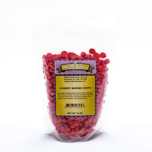 Cherry Baking Chips,  Bulk Size, (1 lb. Resealable Zip Lock Stand Up Bag)