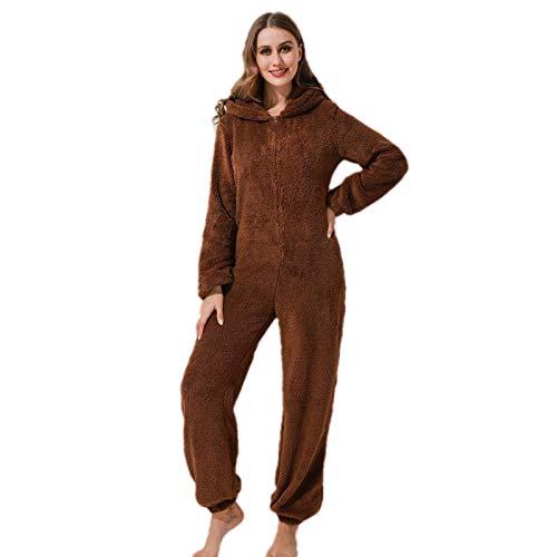 Pijama de una Pieza de Lana cálida para Mujer, Mono de una Pieza con Capucha de Felpa Onesie
