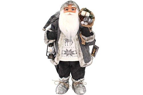 LD Natale decorazione Babbo Natale 60cm in stile nordico, Grigio con lanterna Santa Claus Nikolaus figura decorativa