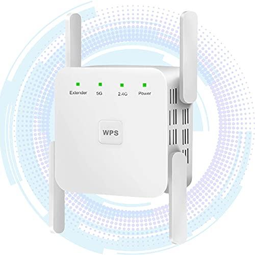 Ripetitore WiFi,1200Mbps Wifi Extender Dual Band con 4 Antenne,2.4G/5G Amplificatore Segnale WiFi con Modalità AP/Ripetitori e Pulsante WPS,Ripetitore Segnale Wifi Casa con Modem Fibra/ADSL,Porta LAN